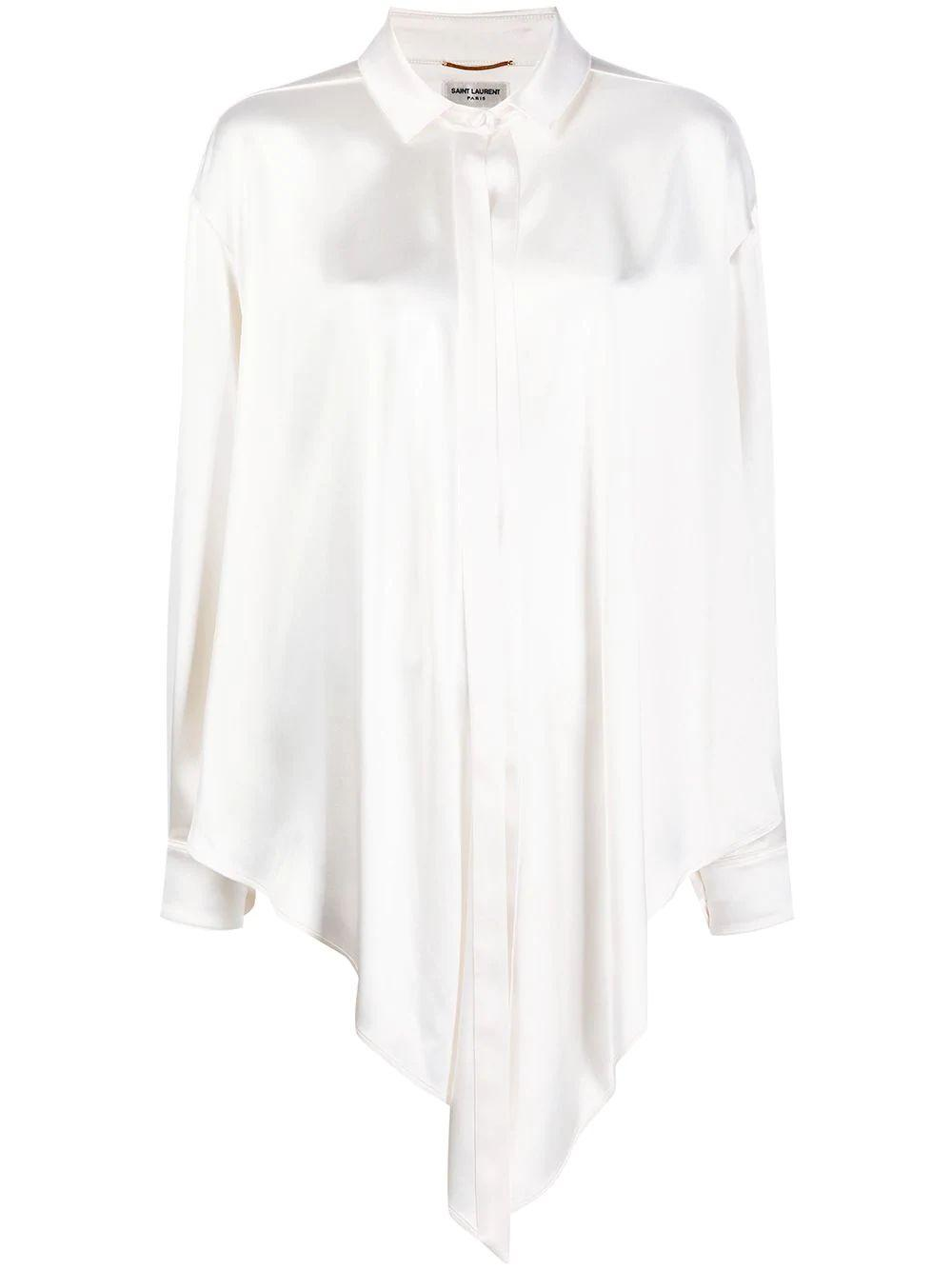 Long Sleeve Satin Blouse With Tie Bottom