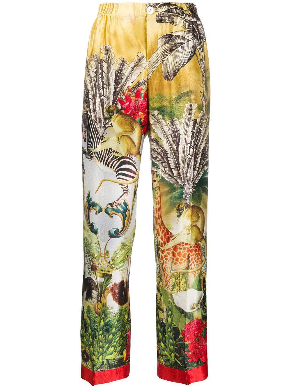 Giraffe And Zebra Printed Cuffed Hem Pant Item # PA002086-TE00412