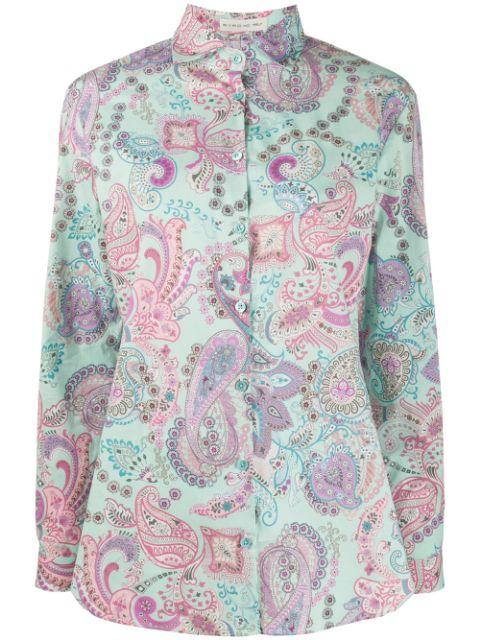 Long Sleeve Paisley Printed Button Up Shirt