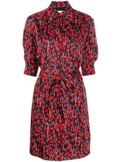 Elbow Sleeve Cherry Print Shirt Dress
