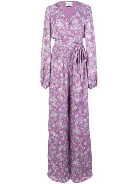 Shanice Long Sleeve Tie Printed Jumpsuit