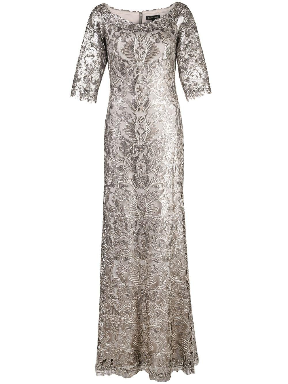 Scoop Neck 3/4 Sleeve Lace Shimmer Gown Item # ATV18236L