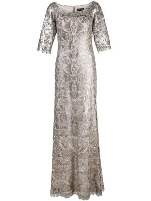 Scoop Neck 3/4 Sleeve Lace Shimmer Gown