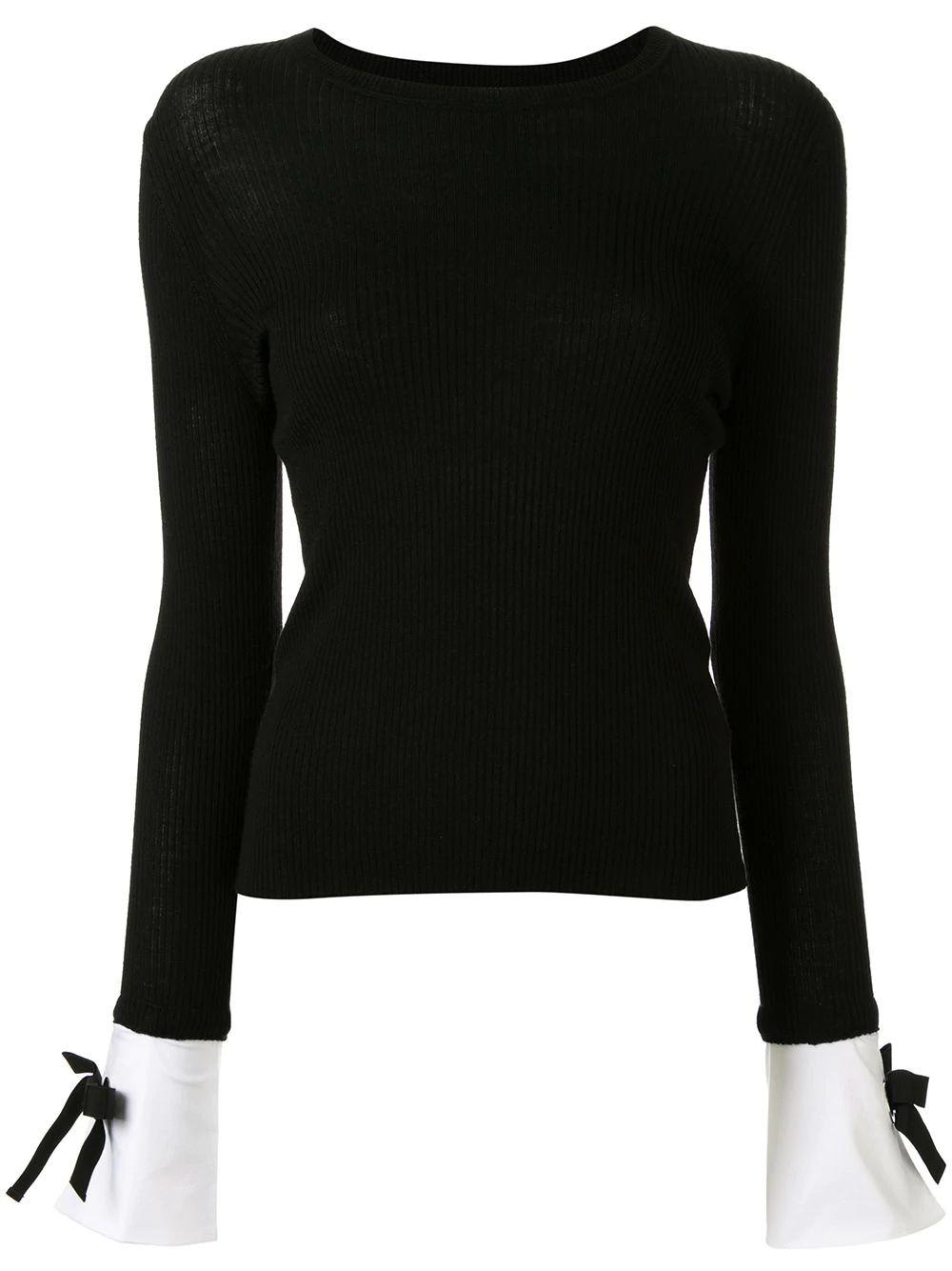 Long Sleeve Pullover Top With Tied Cuffs
