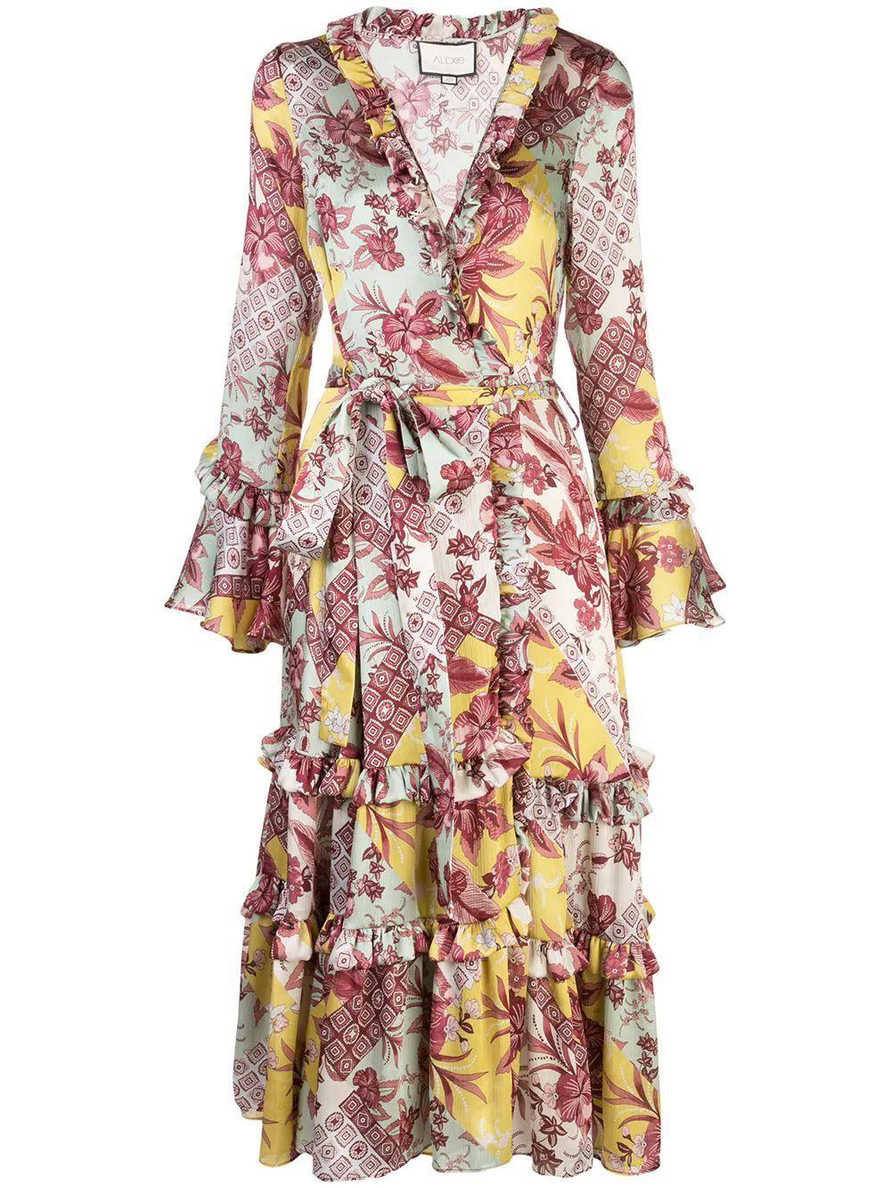 Wiera Long Sleeve Printed Wrap Dress Item # A1200443-6174