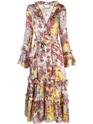 Wiera Long Sleeve Printed Wrap Dress