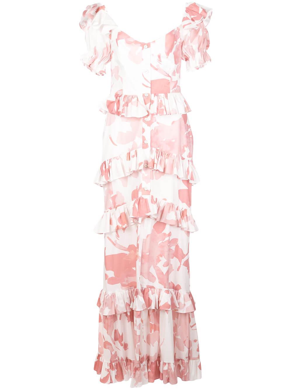 Iva Floral Print Strapless Gown Item # D356FSCR20