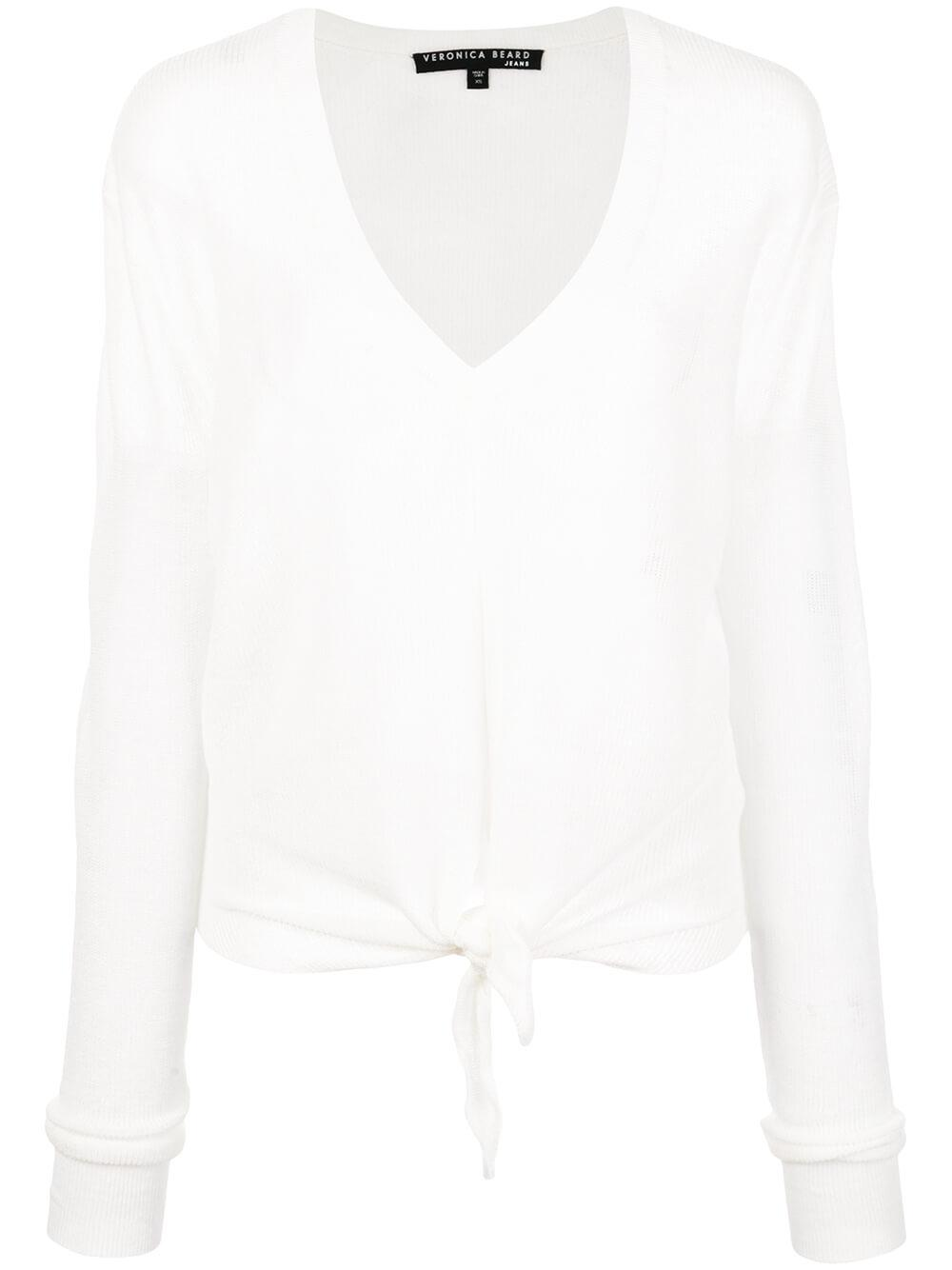 Arthur Long Sleeve V-Neck Pullover With Tie
