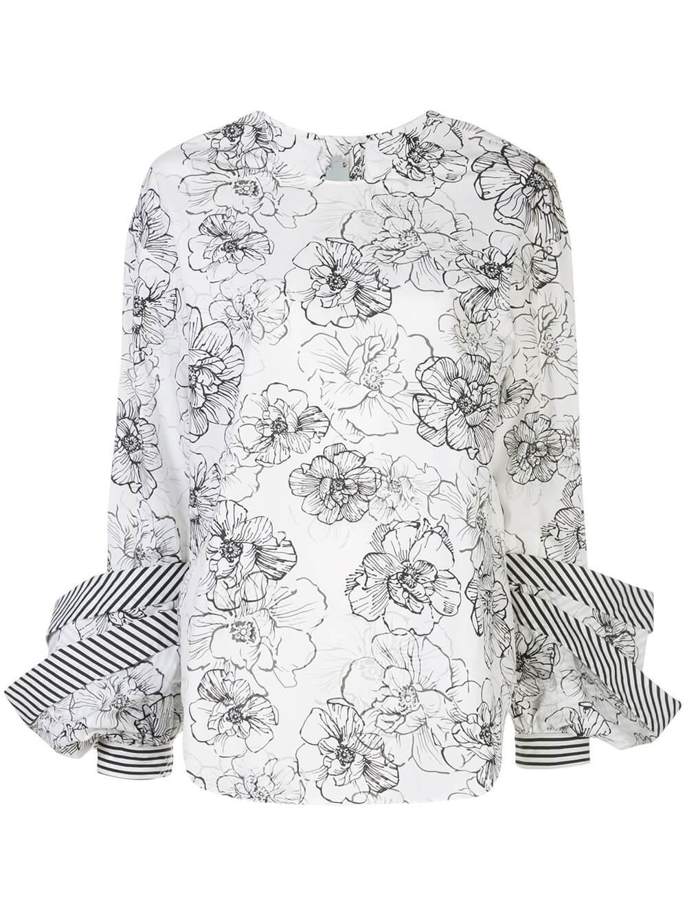 Jessica Floral Print Cotton Blouse Item # JESSICA-BLOUSE