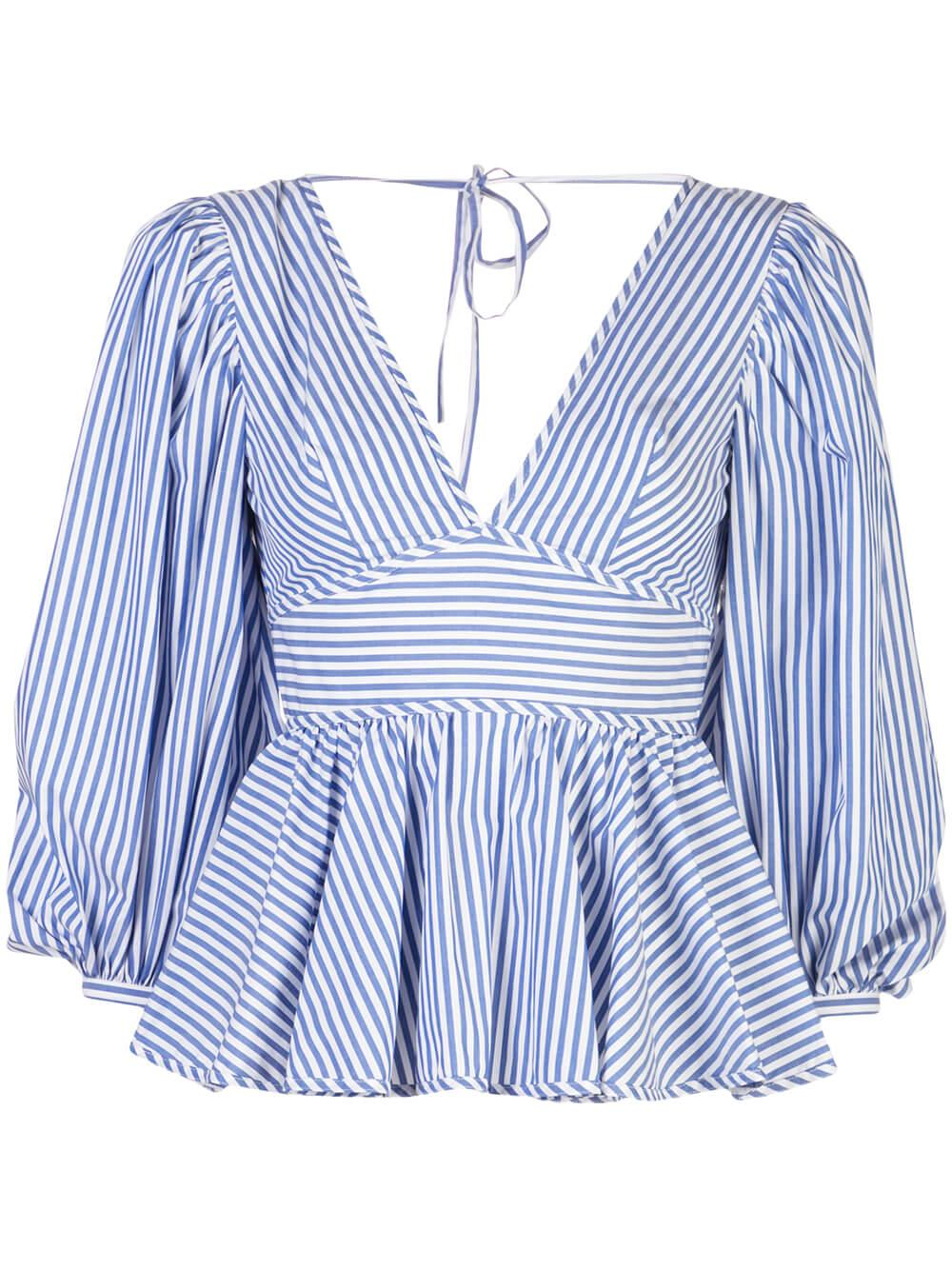 Luna Striped Shirting Peplum Top Item # 138-3064-BLWS