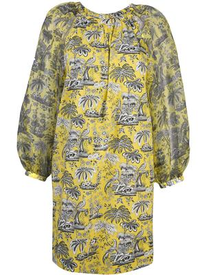 Garden Toile Puff Sleeve Dress