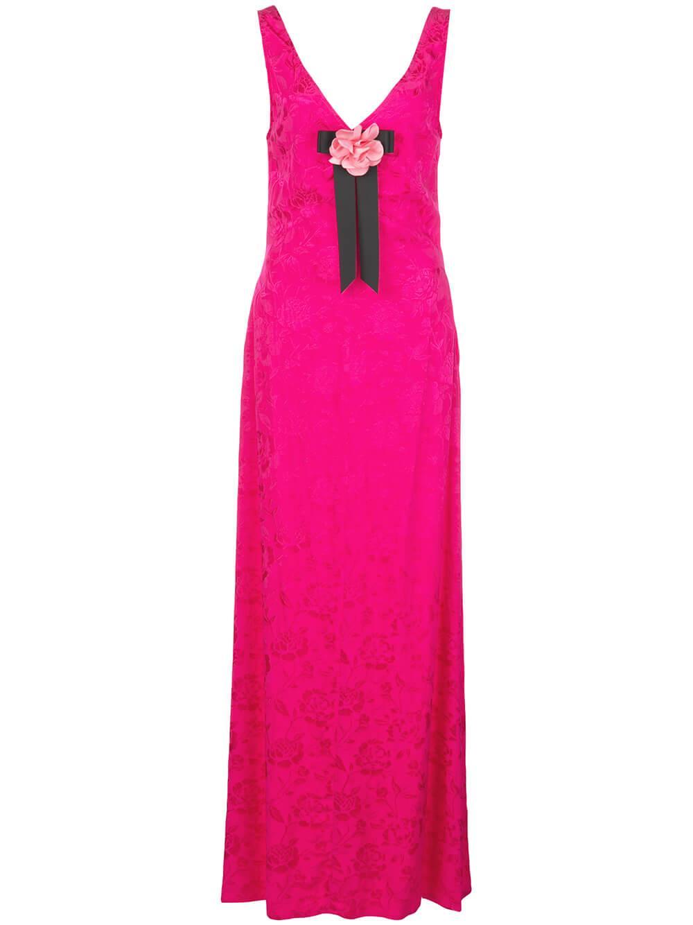 Setter Floral Damask Maxi Dress Item # 167-7332-PENY
