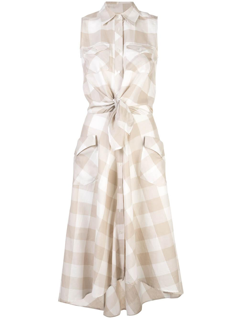 Sleeveless Gingham Print Shirt Dress Item # 8DRAKENS-5