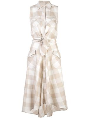 Sleeveless Gingham Print Shirt Dress