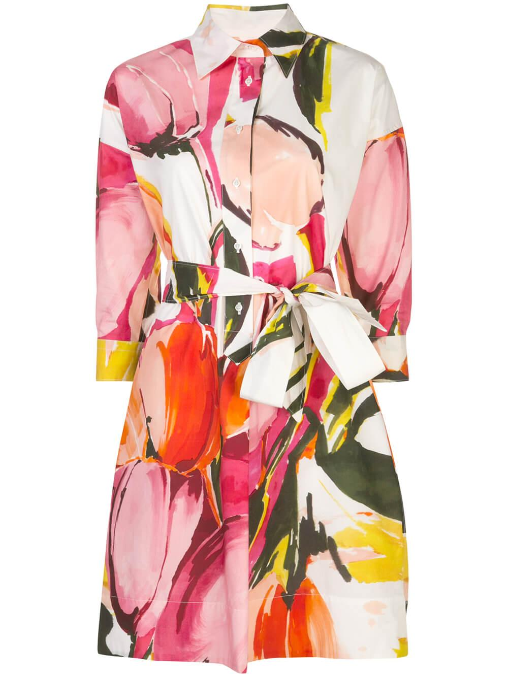 3/4 Sleeve Floral Brushstroke Shirt Dress
