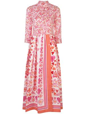 3/4 Sleeve Heart Print Maxi Dress