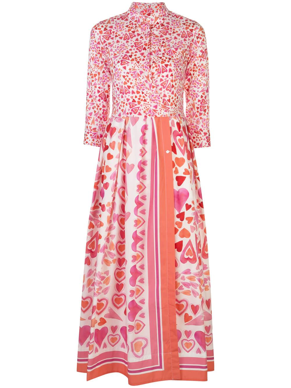 3/4 Sleeve Heart Print Maxi Dress