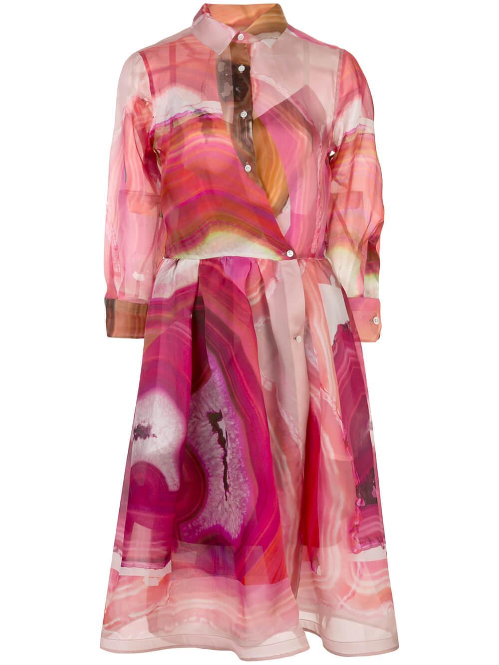 3/4 Sleeve Agate Print Shirt Dress