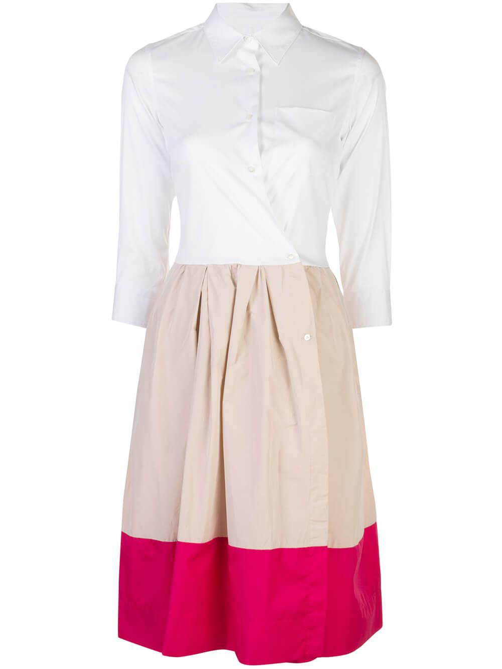 3/4 Sleeve Shirt Dress With Color Block Skirt
