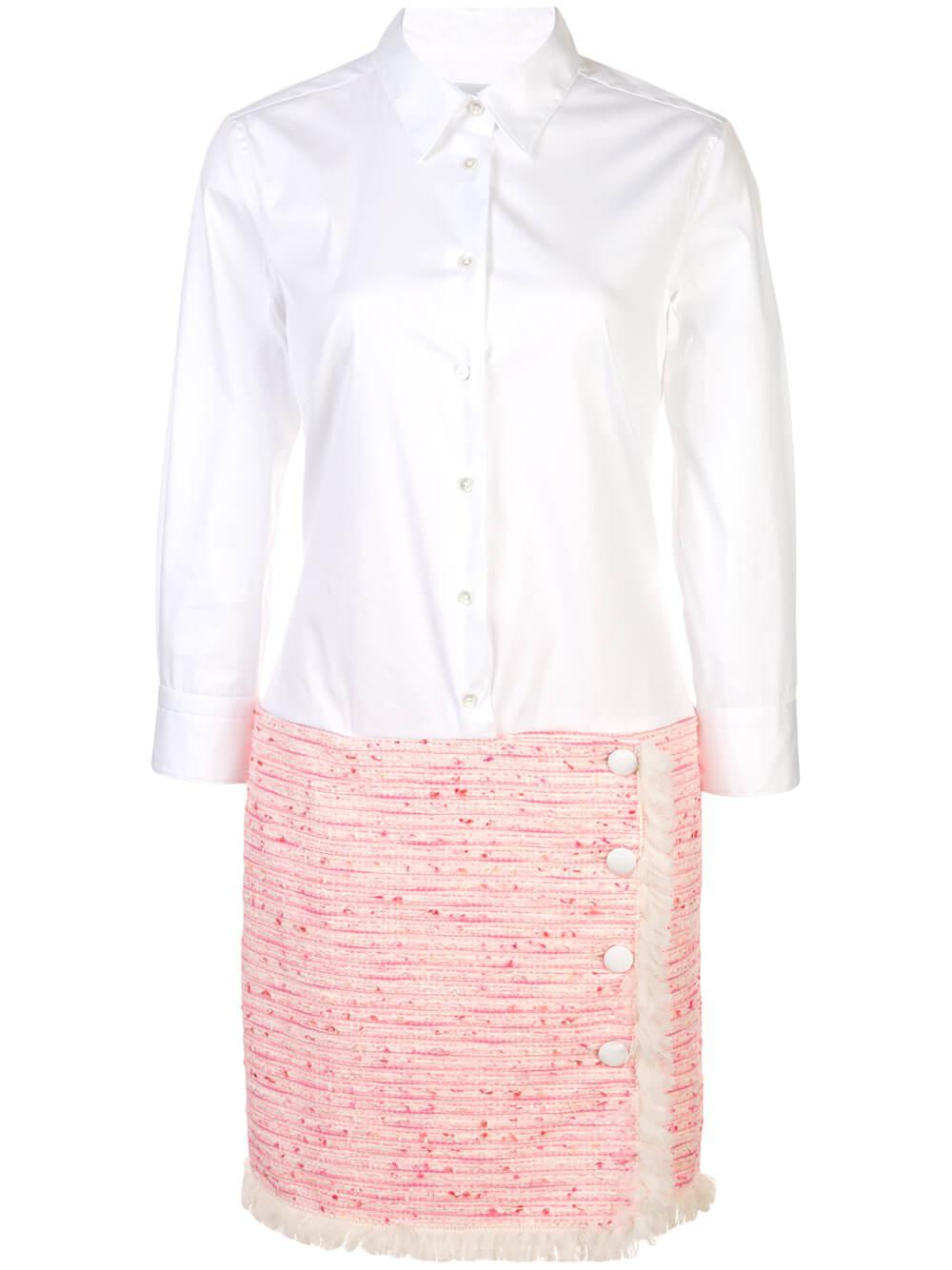 3/4 Sleeve Shirt Dress With Tweed Skirt Item # 8YVETTE-2