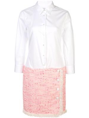 3/4 Sleeve Shirt Dress With Tweed Skirt