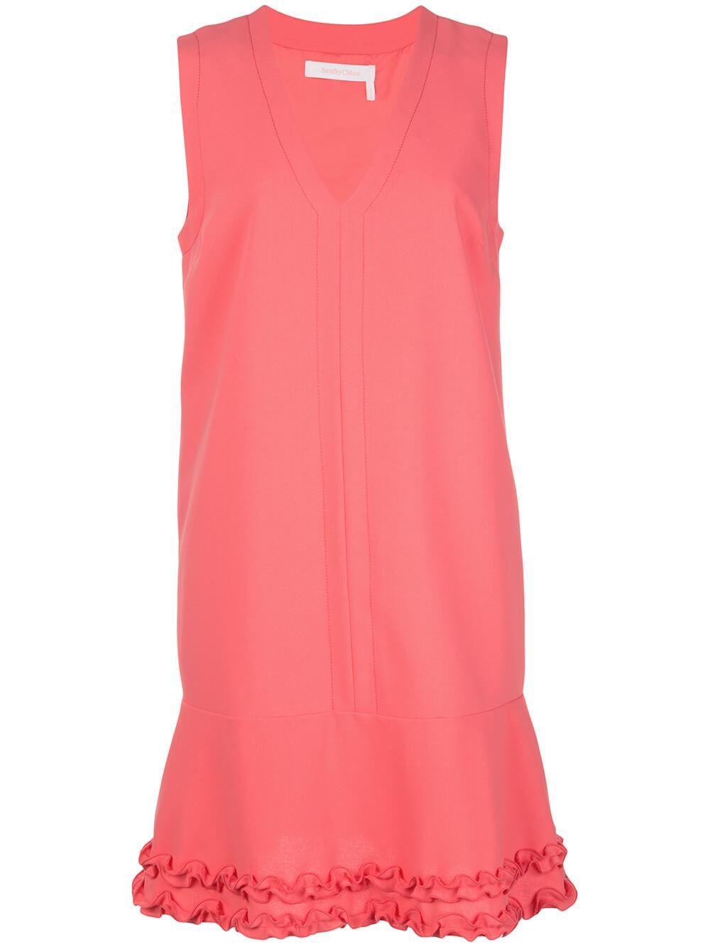 Sleeveless V Neck Crepe Dress Item # CHS20SRO41012