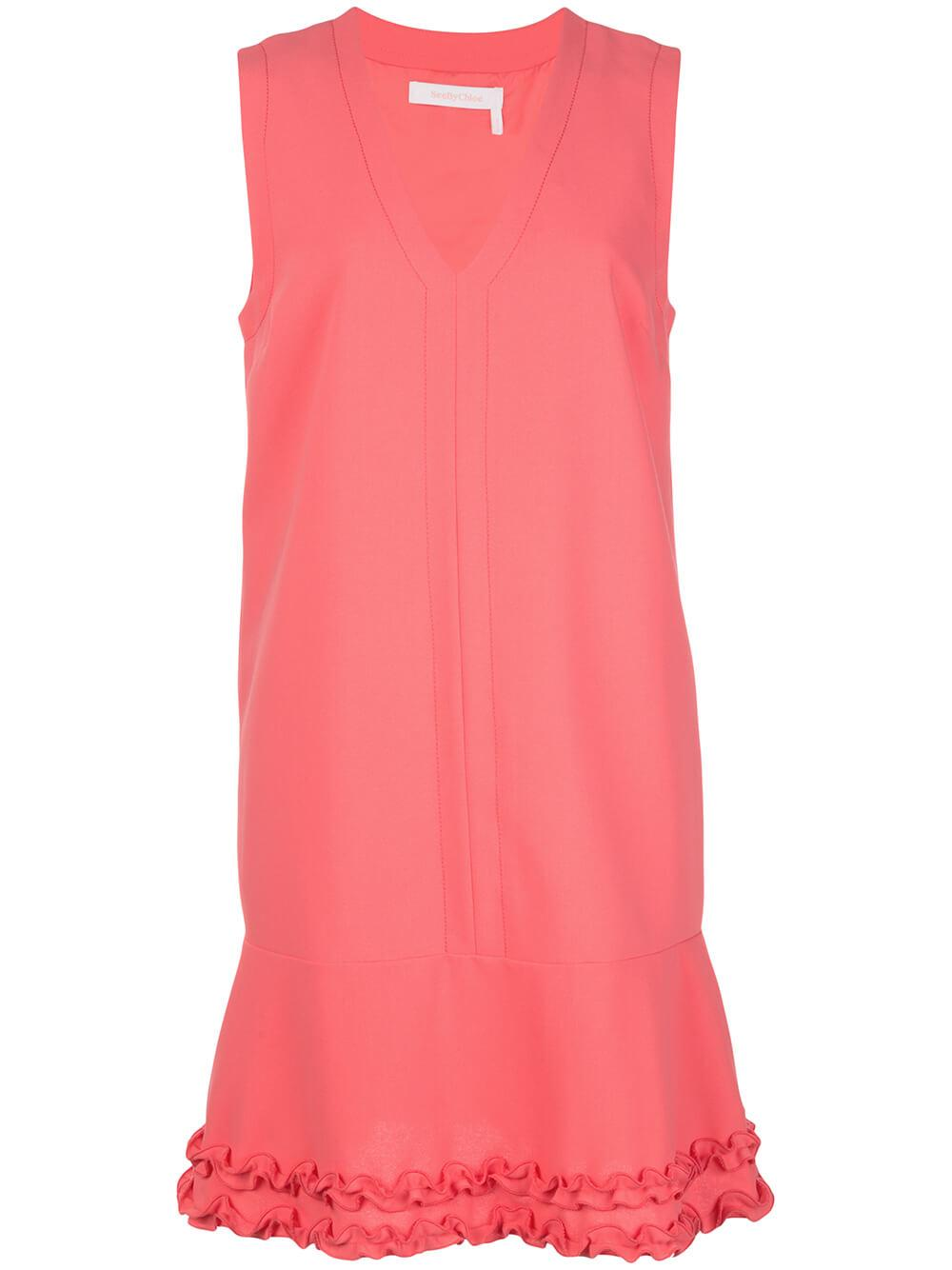 Sleeveless V Neck Crepe Dress