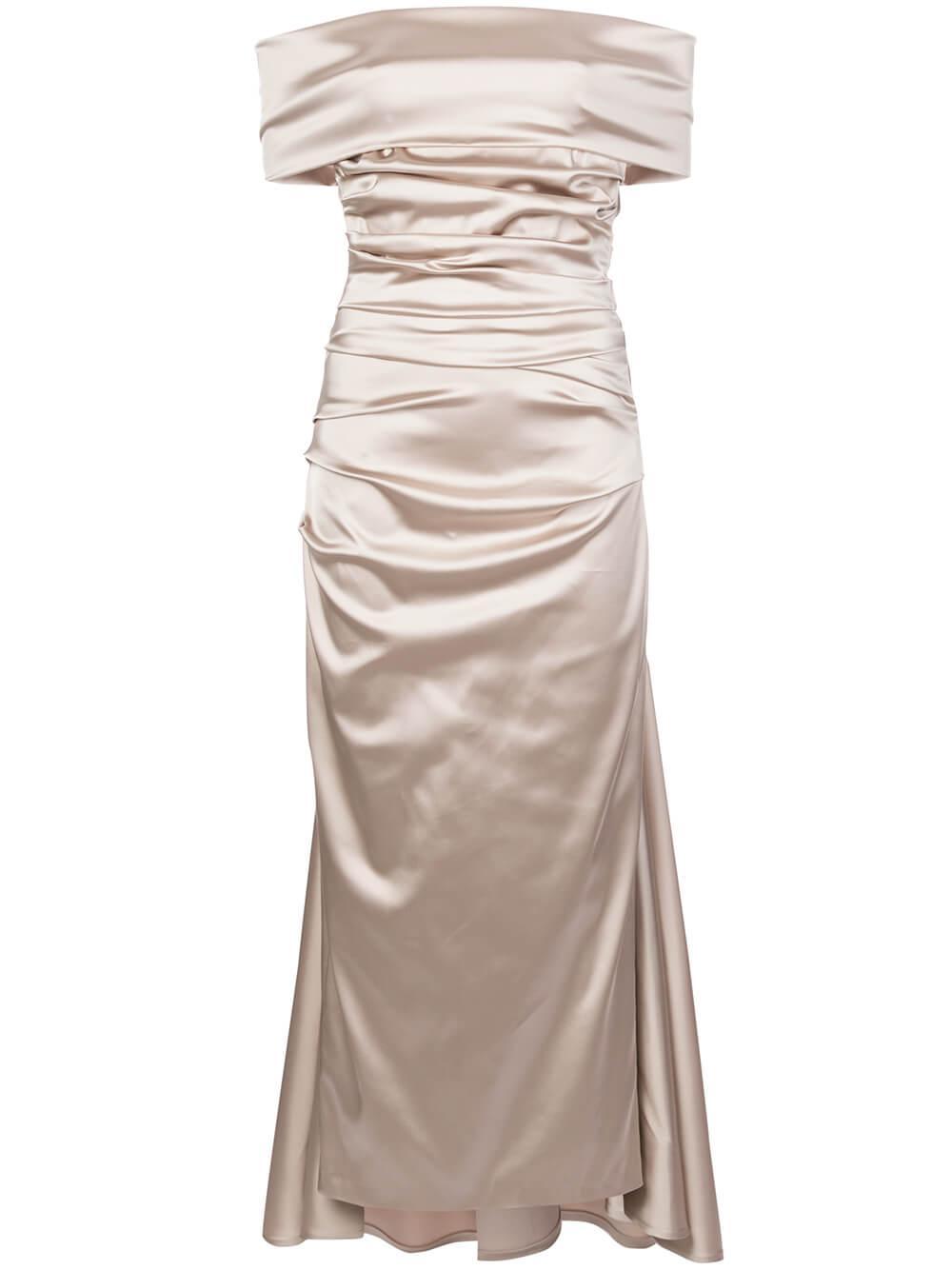 Ruched Off Shoulder Stretch Satin Dress