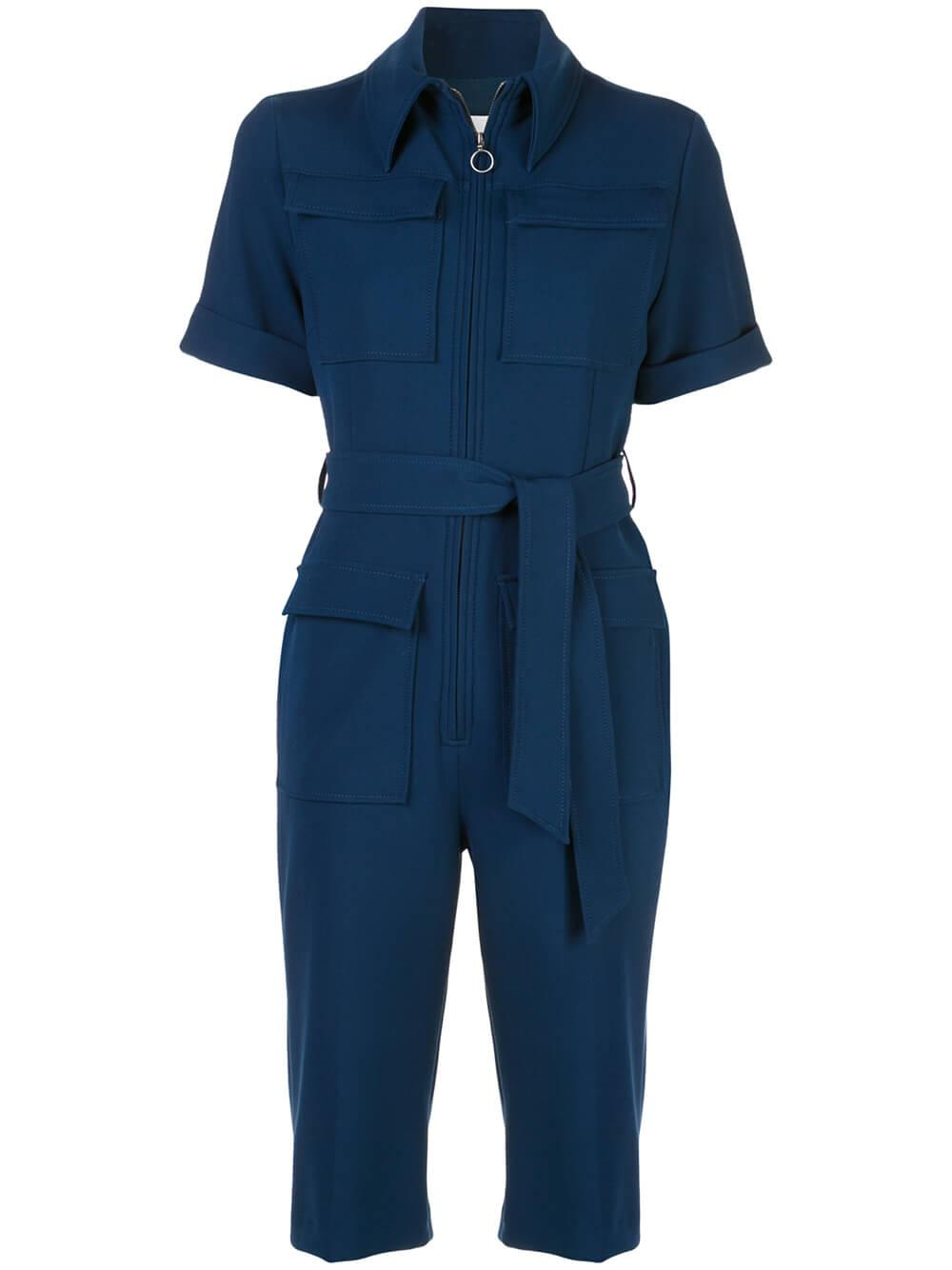 Short Sleeve Cropped Jumpsuit