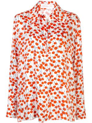 Cherry Print Zip Front Shirt