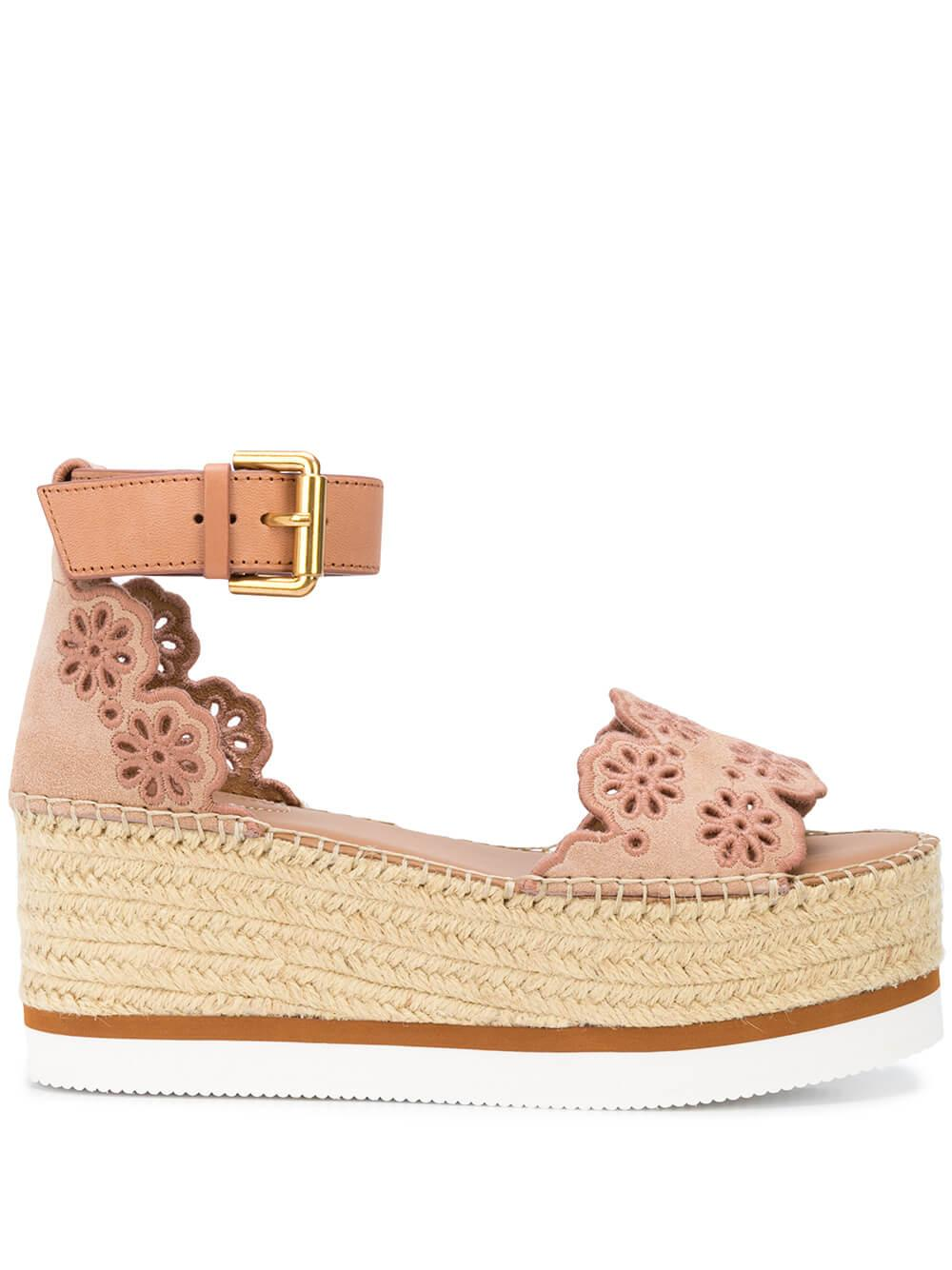 Perforated Scallop Platform Espadrille Item # SB32202A