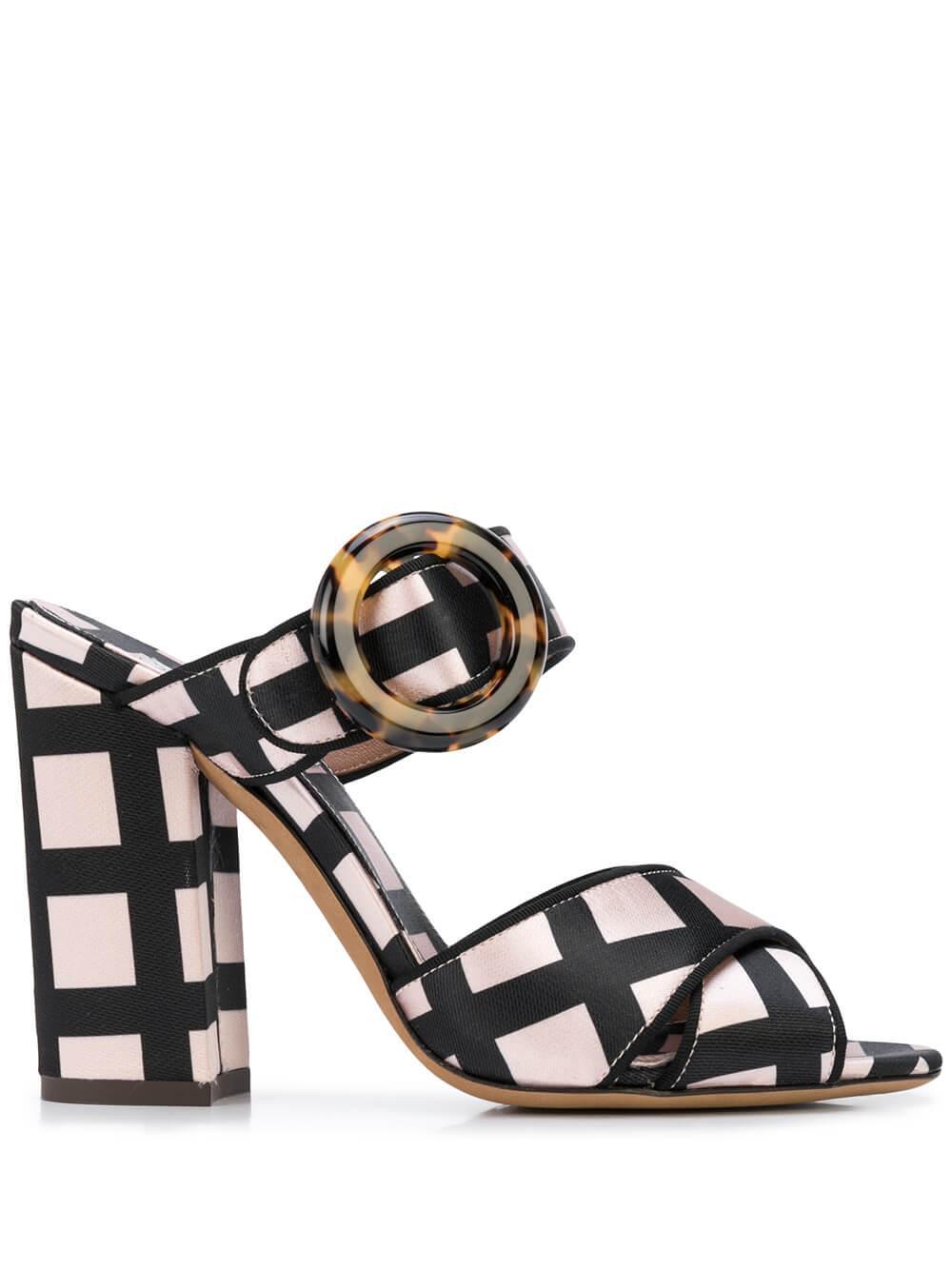 Reyner Check Satin Block Heel Sandal Item # REYNER