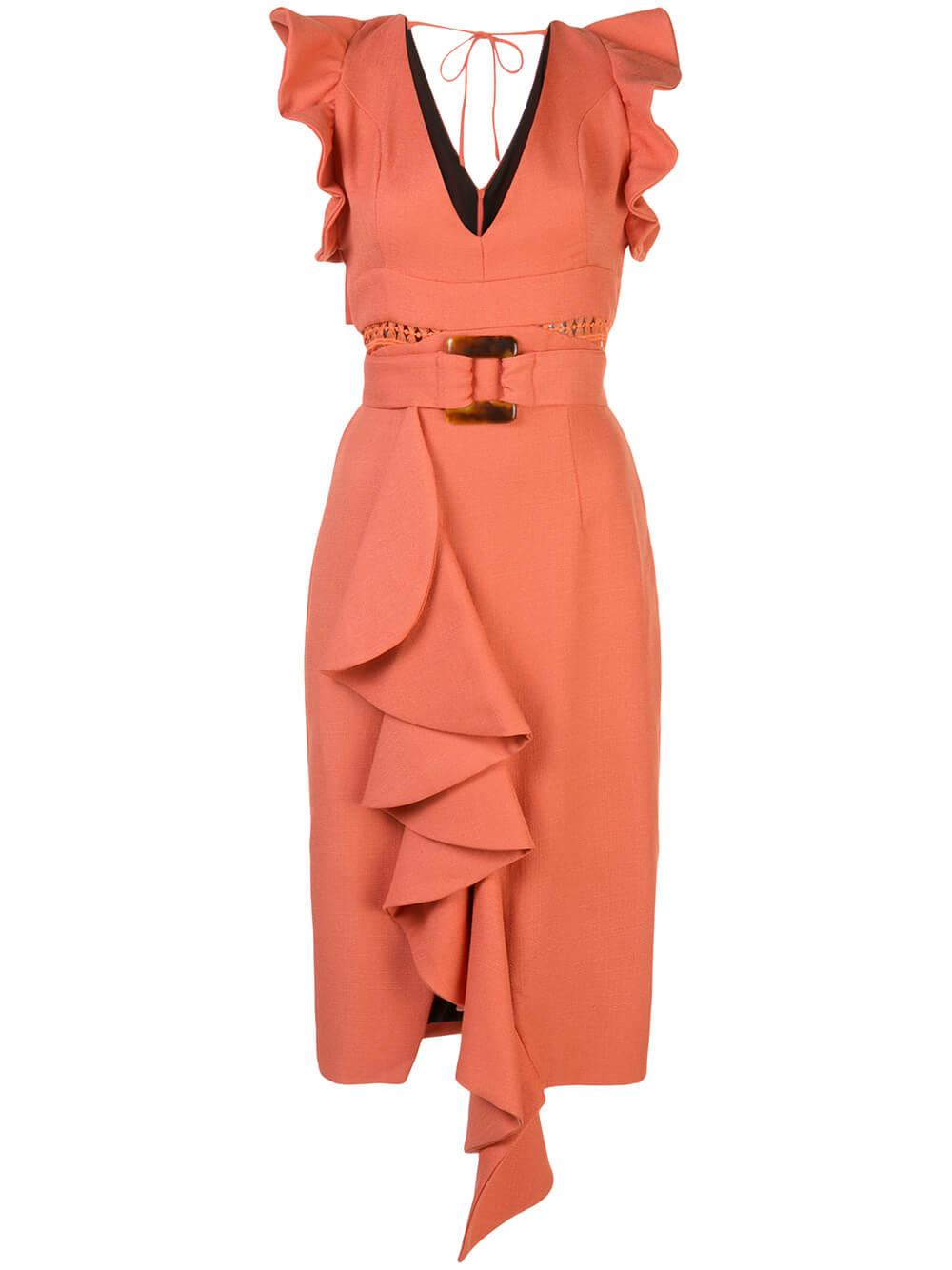 Belted Midi Dress Item # VES2171CUS