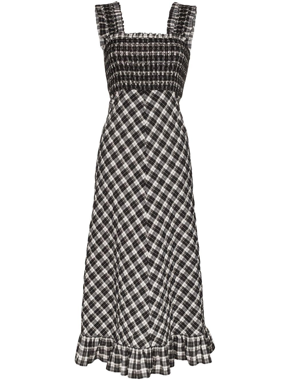Seersucker Check Smoked Midi Dress