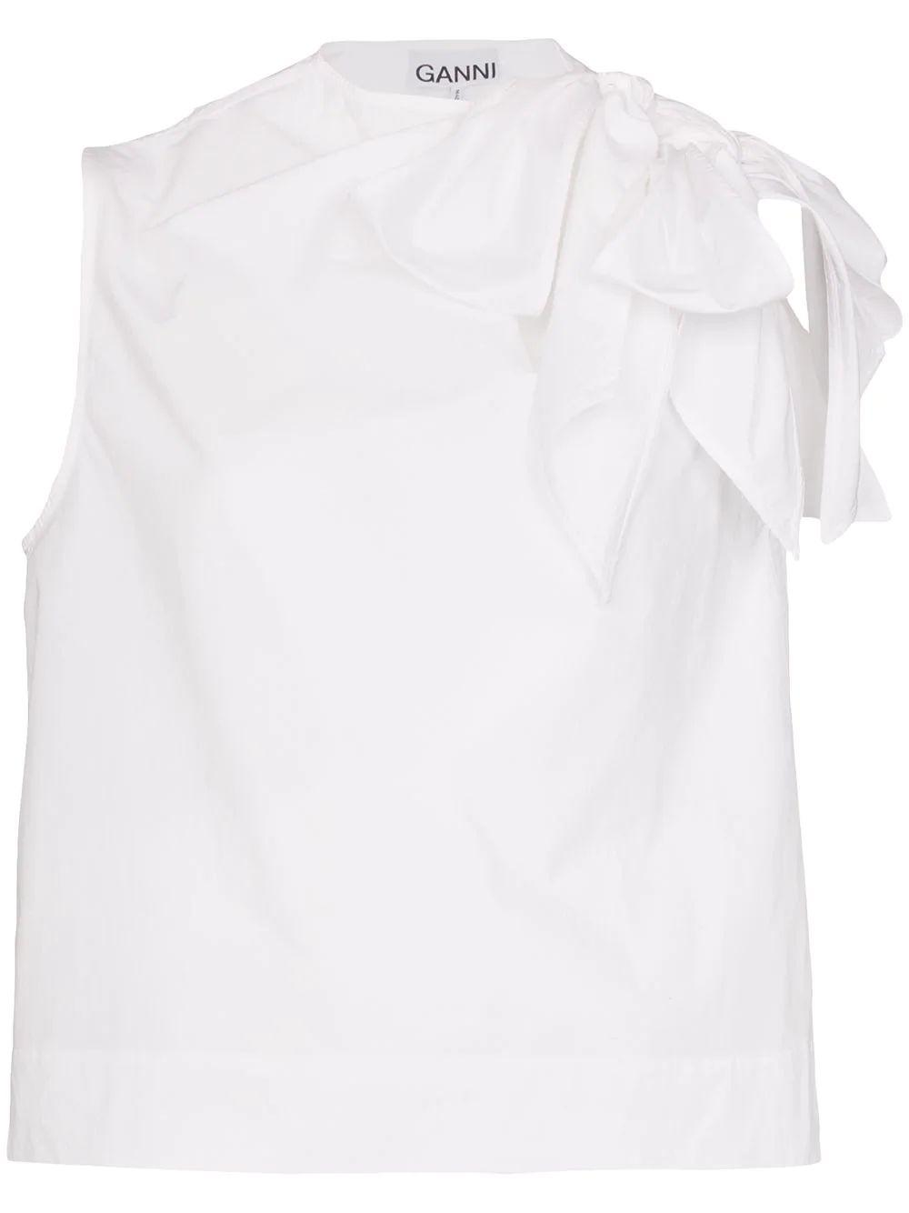 Sleeveless Cotton Top With Bow