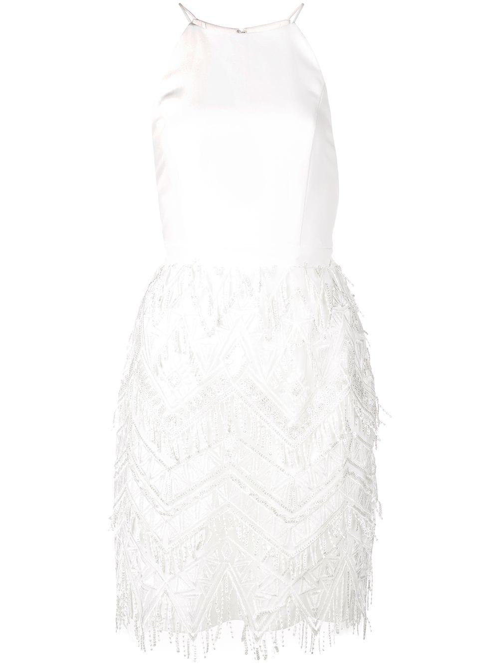 High Neck Embroidered Fringe Dress
