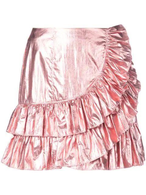 Akira Foil Drape Front Mini Skirt