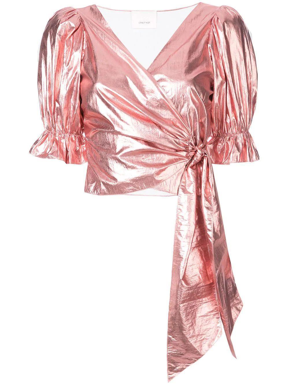 Foil Wrap Tie Short Sleeve Top Item # ZW8033444Z