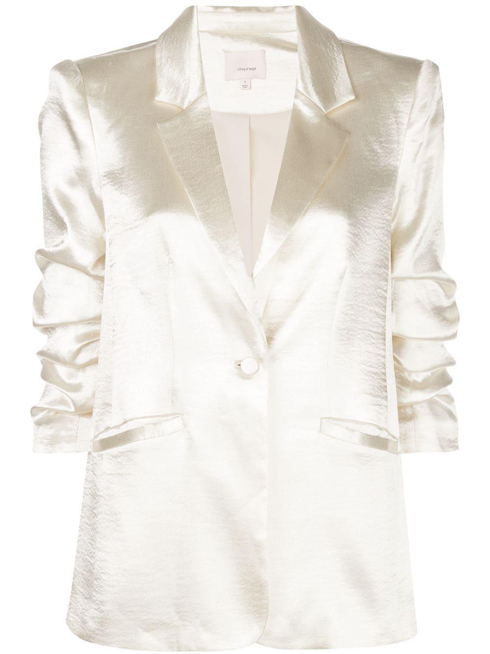 Kylie Satin Ruched Sleeve Blazer