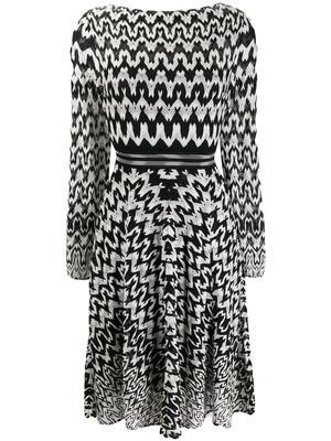 Long Sleeve Print Dress With Waistband Detail