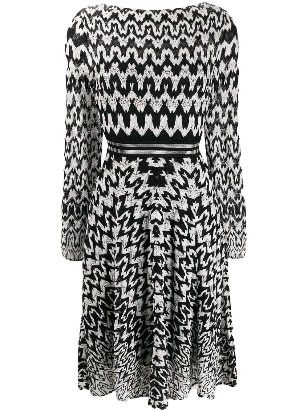 Long Sleeve Print Dress With Waistband Detail