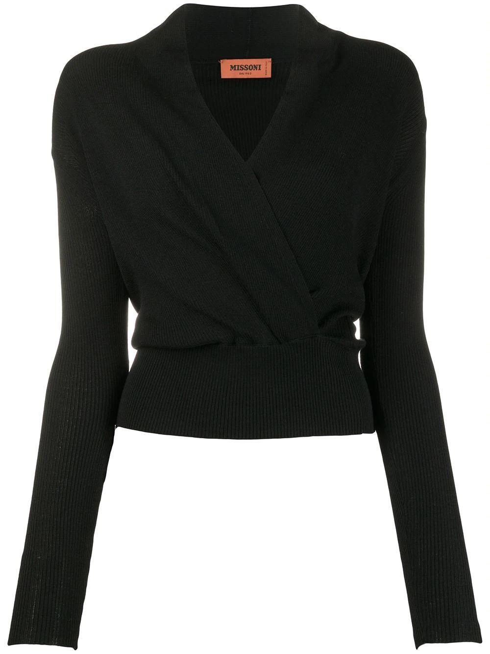 Long Sleeve Faux Wrap Top