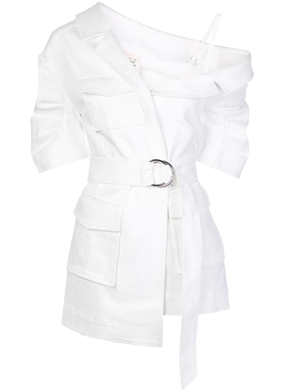 Katie Off The Shoulder Wrap Belted Jacket Item # ZJ3183402Z