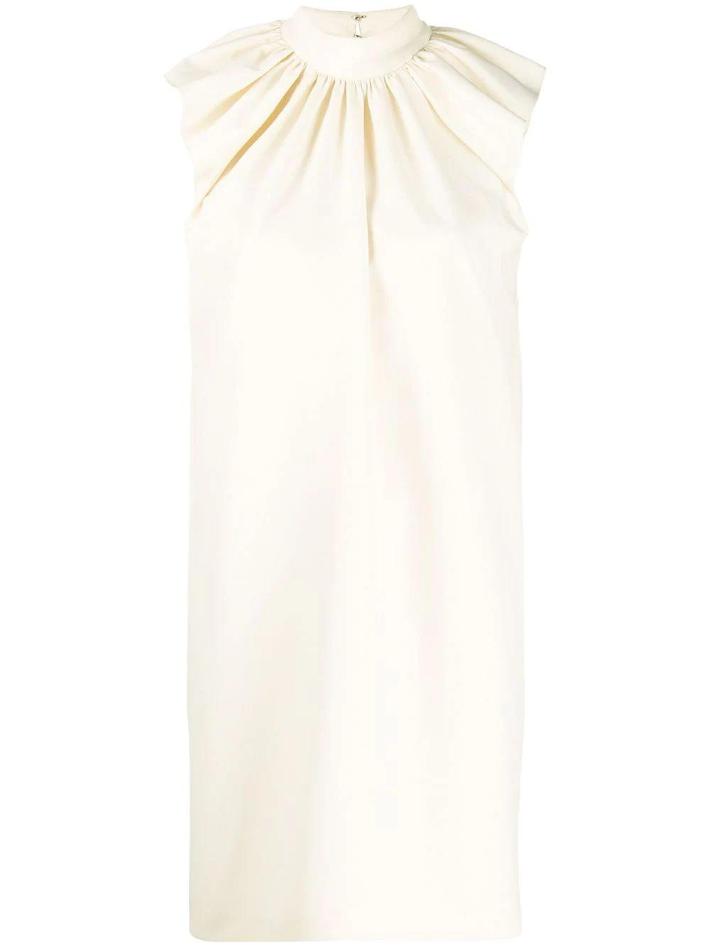 Sleeveless Ruched Shoulder Dress