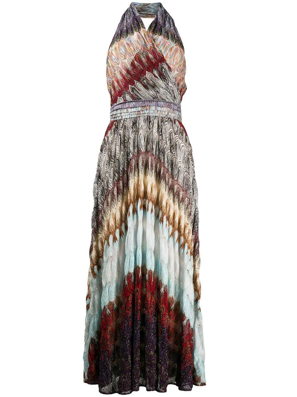 Halter Neck Midi Dress Item # MDG00516-BR007X