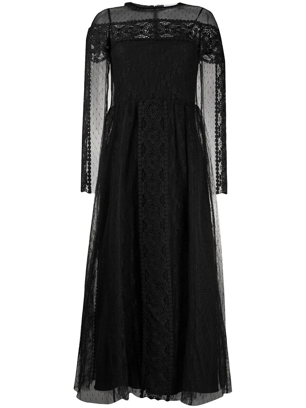 Long Sleeve Point D'Esprit Midi Dress