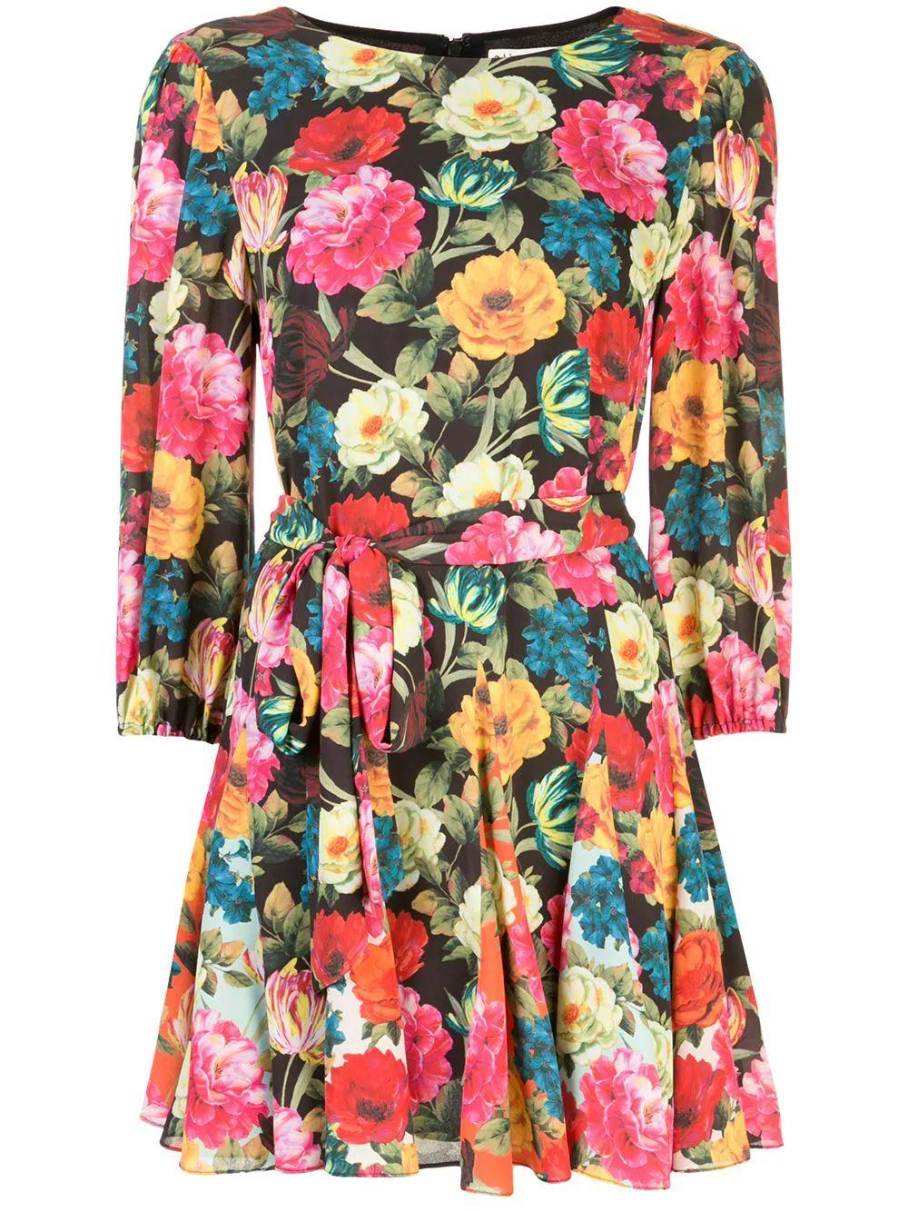 Mina Puff Sleeve Godet Dress With Tie With Belt