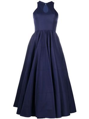 Sleeveless Keyhole Midi Dress With Full Skirt