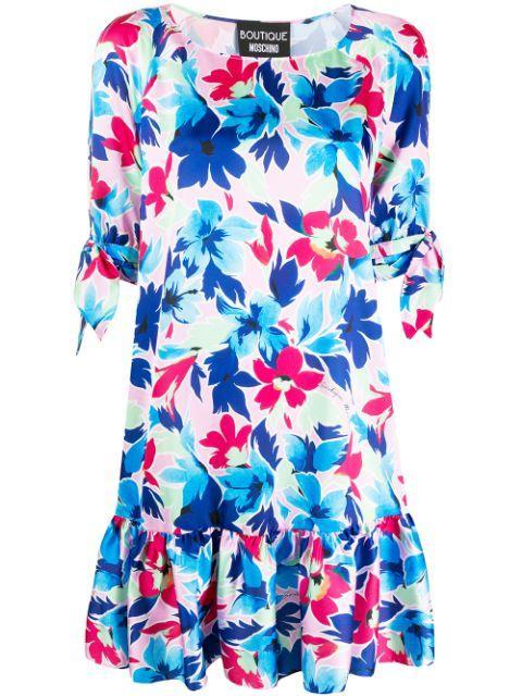 Short Sleeve Floral Print Dress With Ruffle Hem Item # 0408-1152
