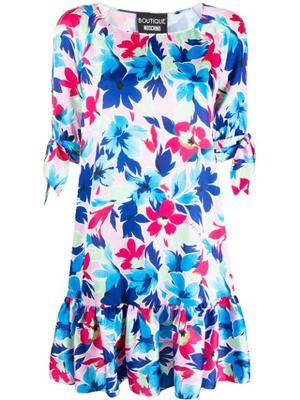 Short Sleeve Floral Print Dress With Ruffle Hem